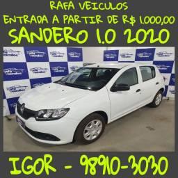 Renault Sandero AUTHENTIC 1.0 2020 entrada a partir de mil reais! Falar com Igor