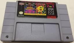 Super 2 em 1 Super Nintendo Ms Pac Man + space invaders
