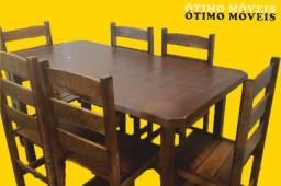 Mesa de madeira com 6 cadeiras R$:750,00