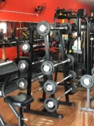 Título do anúncio: kit barra montada 10,15,20,25 e 30 kg + suporte
