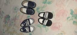 Sapatos e chinelinhos pra bebê menino tudo novo vendo por unidades também