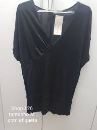 blusa malha Jersey preta feminina Shop 126 com etiqueta