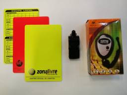 Kit Árbitro - Cartão 2 Amarelo e 1 Vermelho + Apito Prof. + Cronômetro