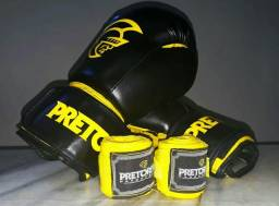 Kit de Boxe/Muay Thai Pretorian: Bandagem + Luvas de Boxe First - 14 OZ - Adulto