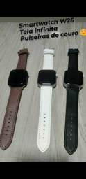 Smartwatch pulseira de couro
