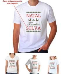 Camiseta para Natal Estampa Personalizada com Sobrenome da sua Família