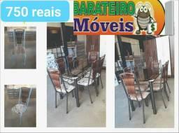 Mesa seis cadeiras junco