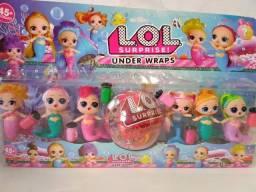 Cartela LOL sereia com 6 bonecas + bola surpresa
