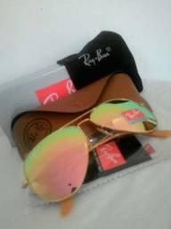 Oculos modelo aviador Rosa cristal