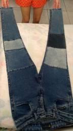 Calça jeans justa unissex 38