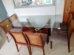 Baixou! De 2.000,00 para 990,00 Mesa de vidro e cadeiras maciças (Officina Design)!