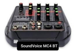 Interface Mesa Som Bluetooh USB Gravação Compacta SoundVoice MC4 BT<br><br>