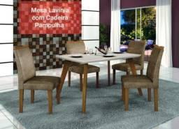 Título do anúncio: Mesa de Jantar Lavínia Imbuia Vidro Off 120X80 com 4Cad - Frete Grátis - Receba Hoje!