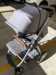 Carrinho mint abc design + bebê conforto risus + adaptador travel system