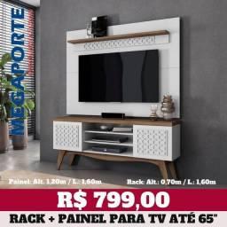 """Título do anúncio: Rack Retro + Painel para TV até 65"""" (Novo) Entrega Grátis!"""