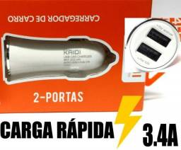 Carregador Veicular Turbo Power 3.4a / 2 entradas Usb