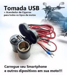 Tomada Usb P/ Moto Carregador Celular Gps Acendedor Cigarro<br><br>