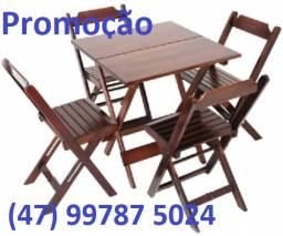 Mesa e cadeiras de madeira dobráveis p/ bares, restaurante e sua casa