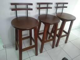 3 banquetas madeira maciça