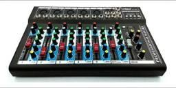 Mesa de Som 6 Canais Mixer Bluetooth Mp3 Player Digital Usb Led Efeitos