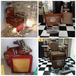 Cadeira de barbeiro antiga hidráulica e reclinável