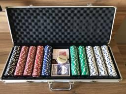 Maleta de Poker com 500 fichas e toalha - como nova