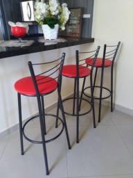 3 Banquetas Preta Alta Cozinha Bancada - Assento Vermelho Novas