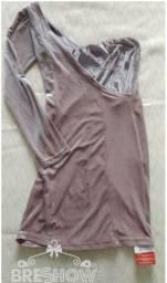 Vestido de veludo manga única .