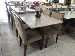Mesa pérola de jantar 4 cadeiras de madeira maciça