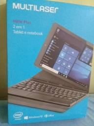 Tablet e notebook multilaser M8W Plus na caixa
