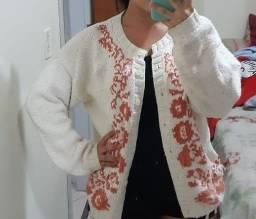 Casaco/sweater de lã GAP, bege claro com detalhes laranja