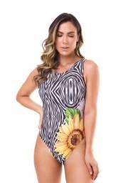 Moda Praia 2021 - Maiô Luxo - Body sem bojo - Estampa Girassol/Zebra