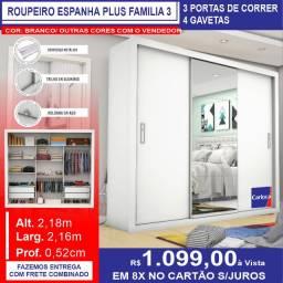 Guarda Roupas Espanha Plus Familia 3 COR: Branco