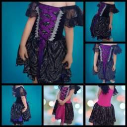 Vestido de Bruxa Luxo Halloween Fantasia Dia das Bruxas