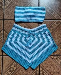 Conjunto mais um short de crochê todos tamanho P