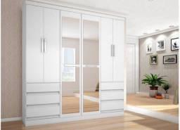 Guarda roupa branco 6 gavetas e 6 portas com espelho