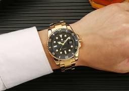 Relógio De Pulso Masculino Dourado Luxo A Prova D'água