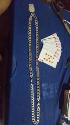 Vendo ou troco conjunto de prata escama 175grama com pingente...