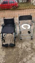 Vende-se cadeira de rodas e cadeira de banho