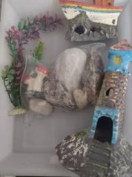 Objetos para decoração de aquário