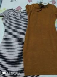 Vestidos listrado e um marrom