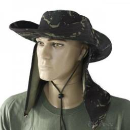 Chapéu de Pano com protetor Camuflado ou Cores Lisas