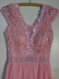 Vestido longo cor Rose Tamanho M