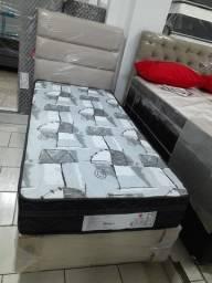 ::: Conjunto Cama Box Colchao Imperial Blak Verticoil 88x188 23cm Melhor Preço