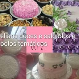 Doces tortas bolos temáticos salgados