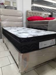 ::: Conjunto Cama Box Colchao Imperial Blak Verticoil 23cm 108x198 Solteirão