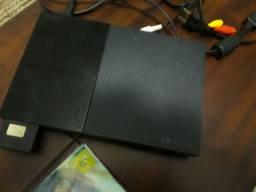 ps2 slim + memory card + jogos