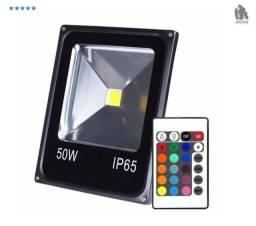 Refletor De Led 50w Rgb Colorido IP65 Bivolt 3500 Lumens