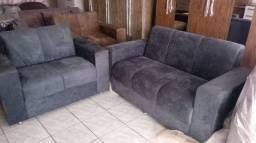 Conjunto de sofa 3 x 2 Lugares Tecido Sued Amassado