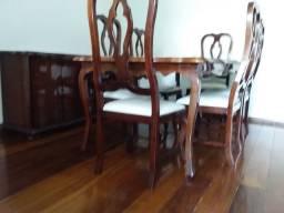 Sala de Jantar estilo clássico, madeira maciça e granito,